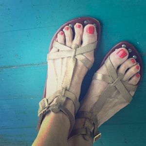 Gold Matt Bernson Grecian goddess flat sandals